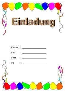 kindergeburtstag einladung vorlagen kostenlos zum ausdrucken, Einladungen
