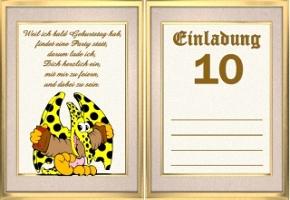 Einladungskarten 10 Geburtstag