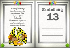 Einladungskarten 13 Geburtstag