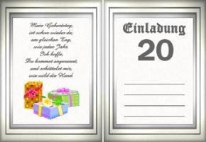 Einladungskarten 20 Jahre