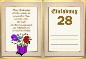 Geburtstagskarten Zum Ausdrucken 28 Geburtstag