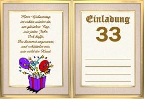 Einladungskarten 33 Jahre