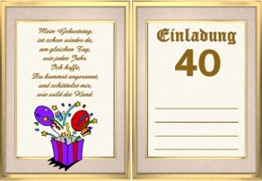 Einladungen Gedichte Zum 40 Geburtstag Kostenlos Ek