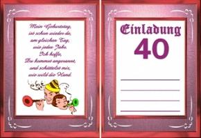 Einladungskarten 40 Geburtstag, Einladungsentwurf