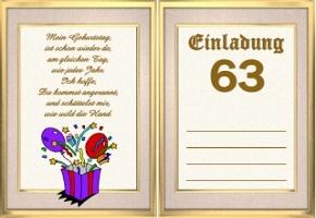 Einladungskarten 63 Geburtstag