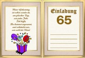 einladungskarten 65 geburtstag, Einladung