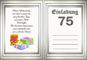Einladungskarten 75 Geburtstag, Kreative Einladungen