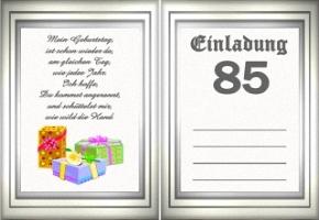 Großartig Einladungskarten 85 Geburtstag, Einladungs