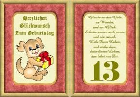 Geburtstagskarten 13 Geburtstag