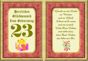 Geburtstagskarten 23 Geburtstag
