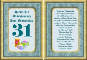 Geburtstagskarten 31 Geburtstag