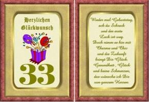 Geburtstagskarten 33 Geburtstag
