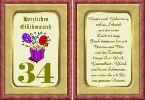 Geburtstagskarten 34 Geburtstag