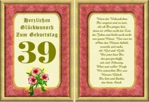 Geburtstagskarten 39 Geburtstag