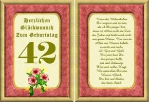 Geburtstagskarten 42 Geburtstag