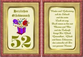 Geburtstagskarten 52 Geburtstag