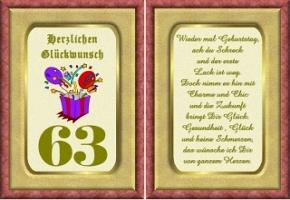 Geburtstagskarten 63 Geburtstag