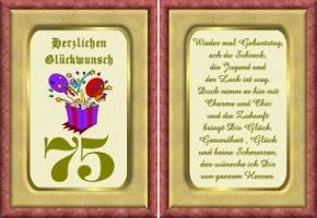 Geburtstagskarten 75 Geburtstag